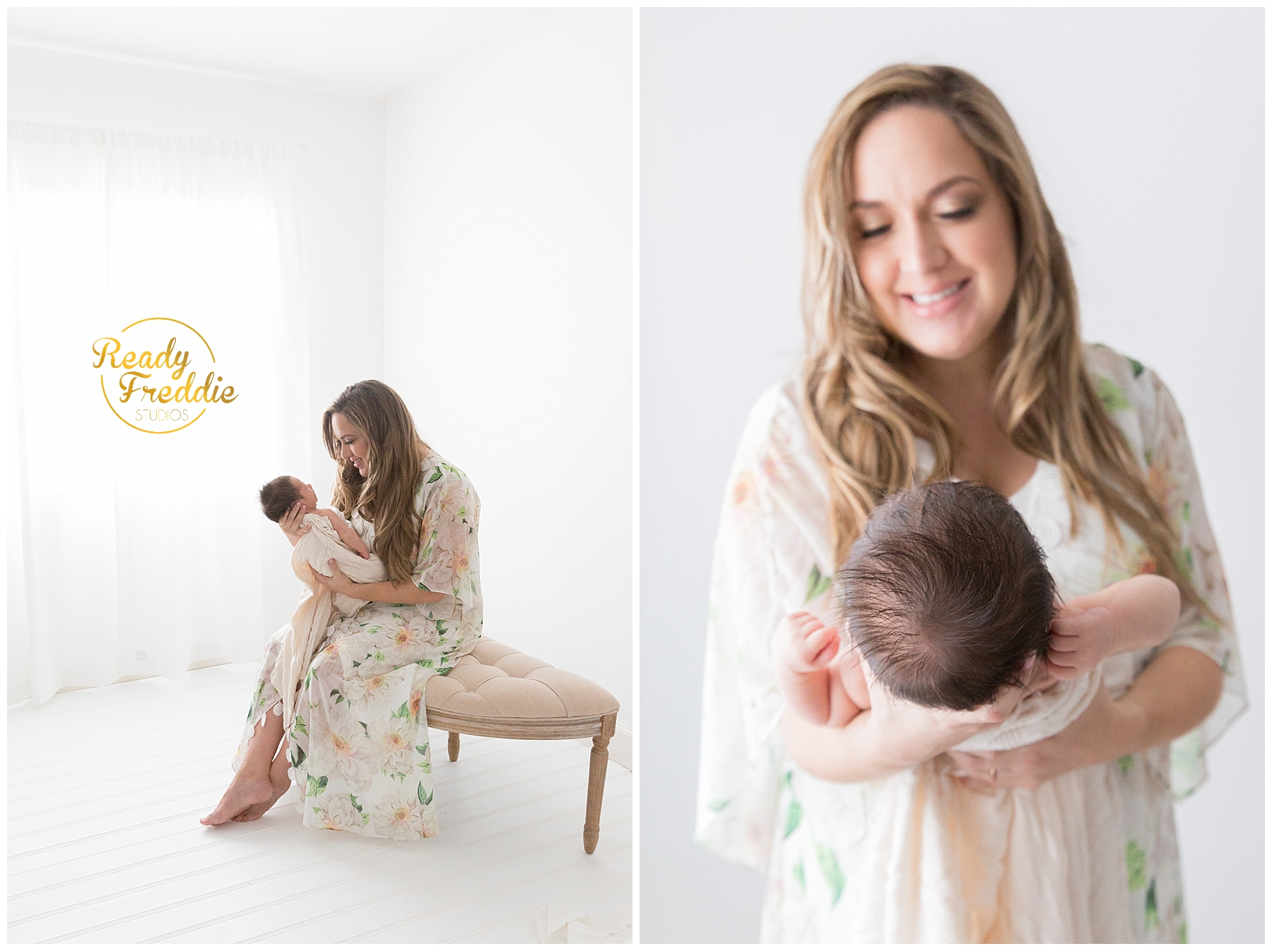 mom and baby during newborn session