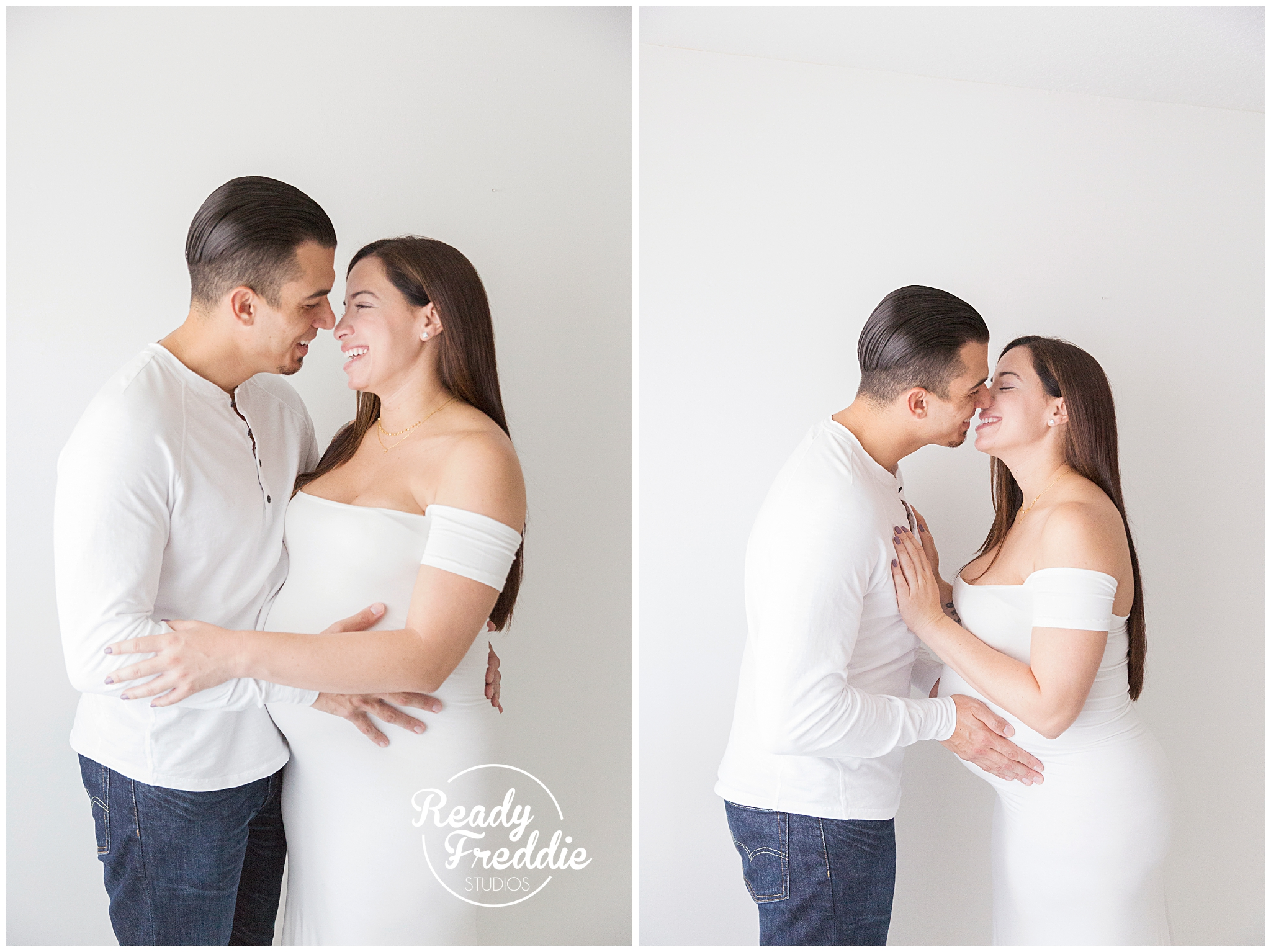 Miami Maternity Photographer - Mother and Father to be holding each other laughing