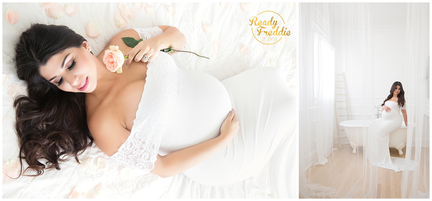 Mom to be laying in bed holding her belly with pink roses around her during her maternity session