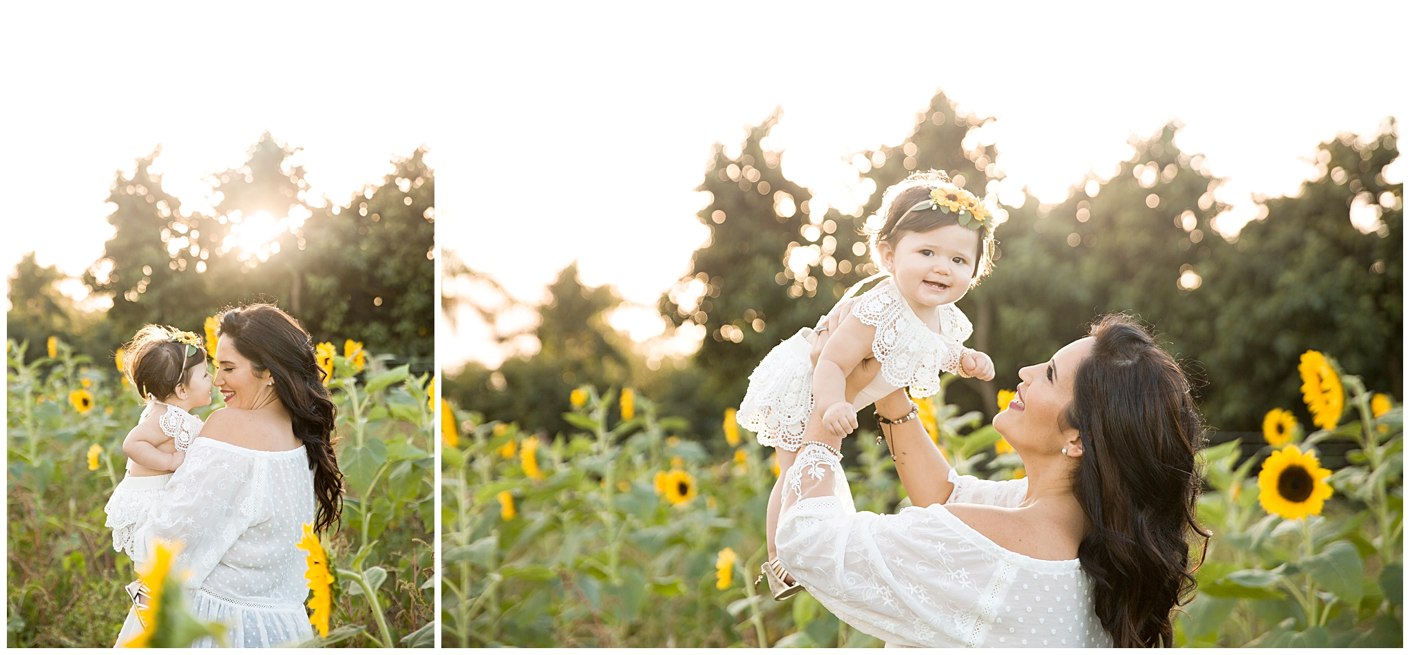 Mother with 9 month old daughter smiling and giving eskimo kisses at a sunflower field during their motherhood session with Ready Freddie Studios in Miami FL