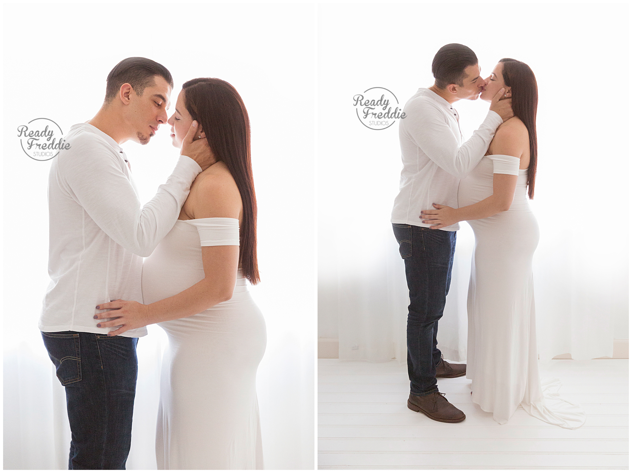 Couple standing in front of window holding mom's belly during their maternity photoshoot