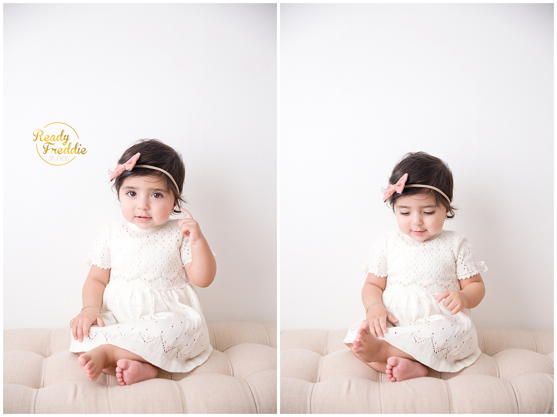 One year old girl sitting on bench for first year pictures