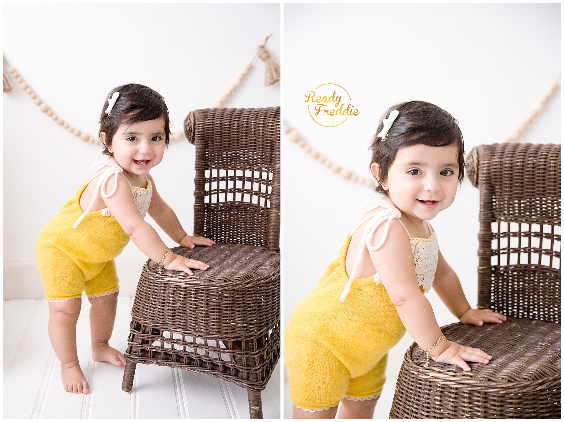 One year old standing next to chair taking her first year photos in South FL photo studio