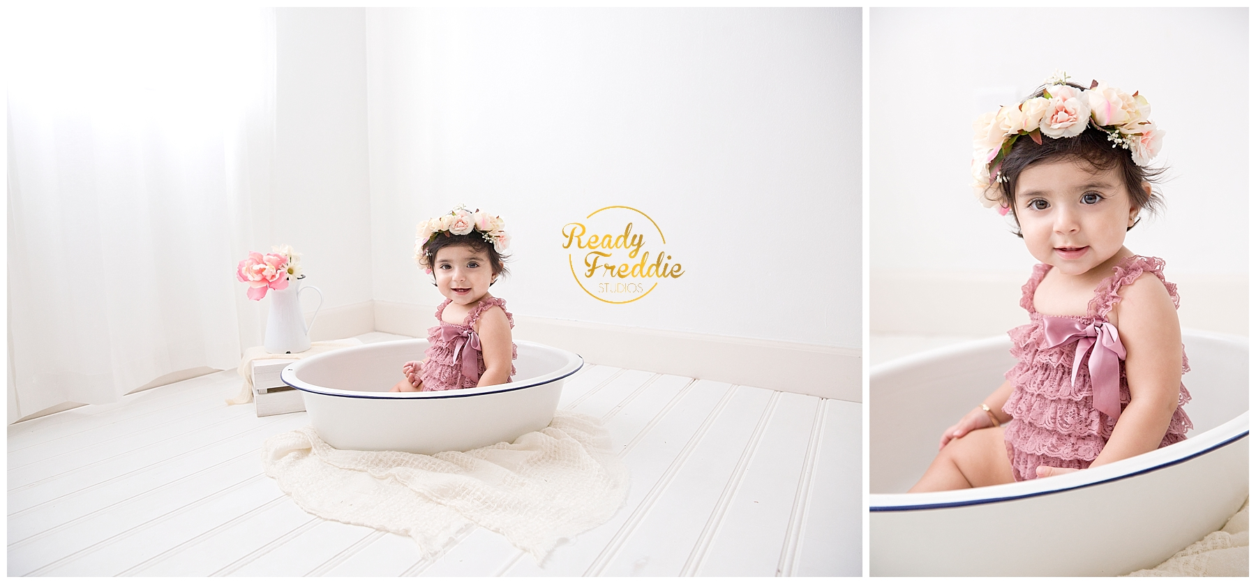 First year pictures girl with floral crown in enamel bath tub in natural light photography studio in Miami FL