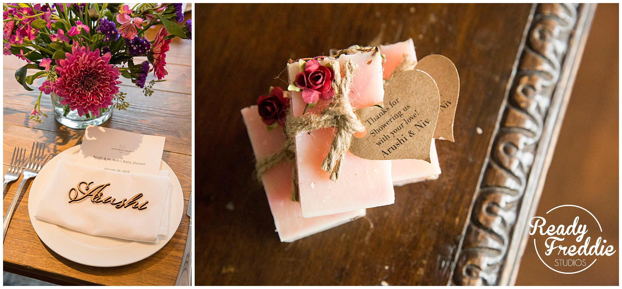 Party Favors for baby shower, wooden name and soap