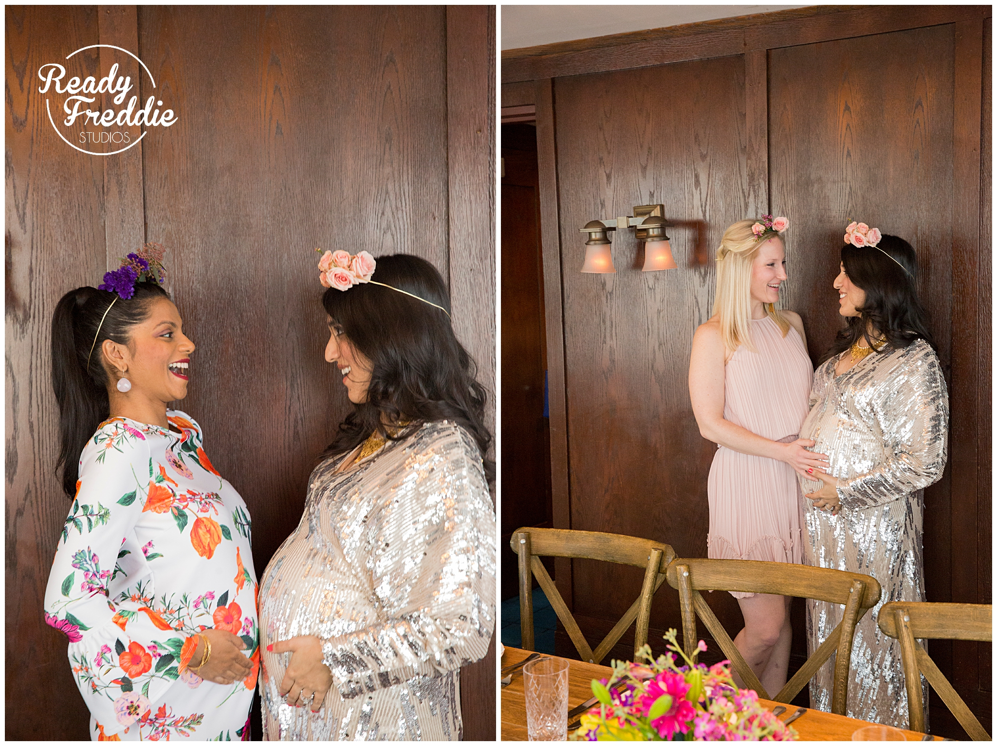 Mom to be enjoying her baby shower with her friends at the soho beach house in miami beach