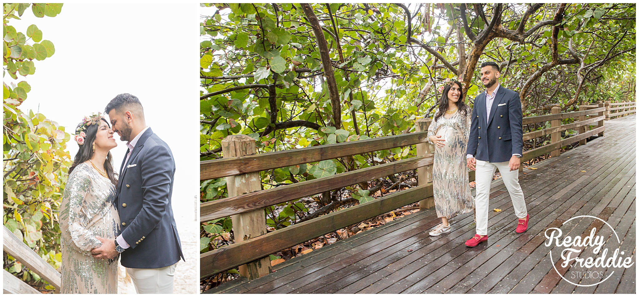 best maternity photographer during a baby shower event couple walks down the boardwalk in collins ave at the soho beach house