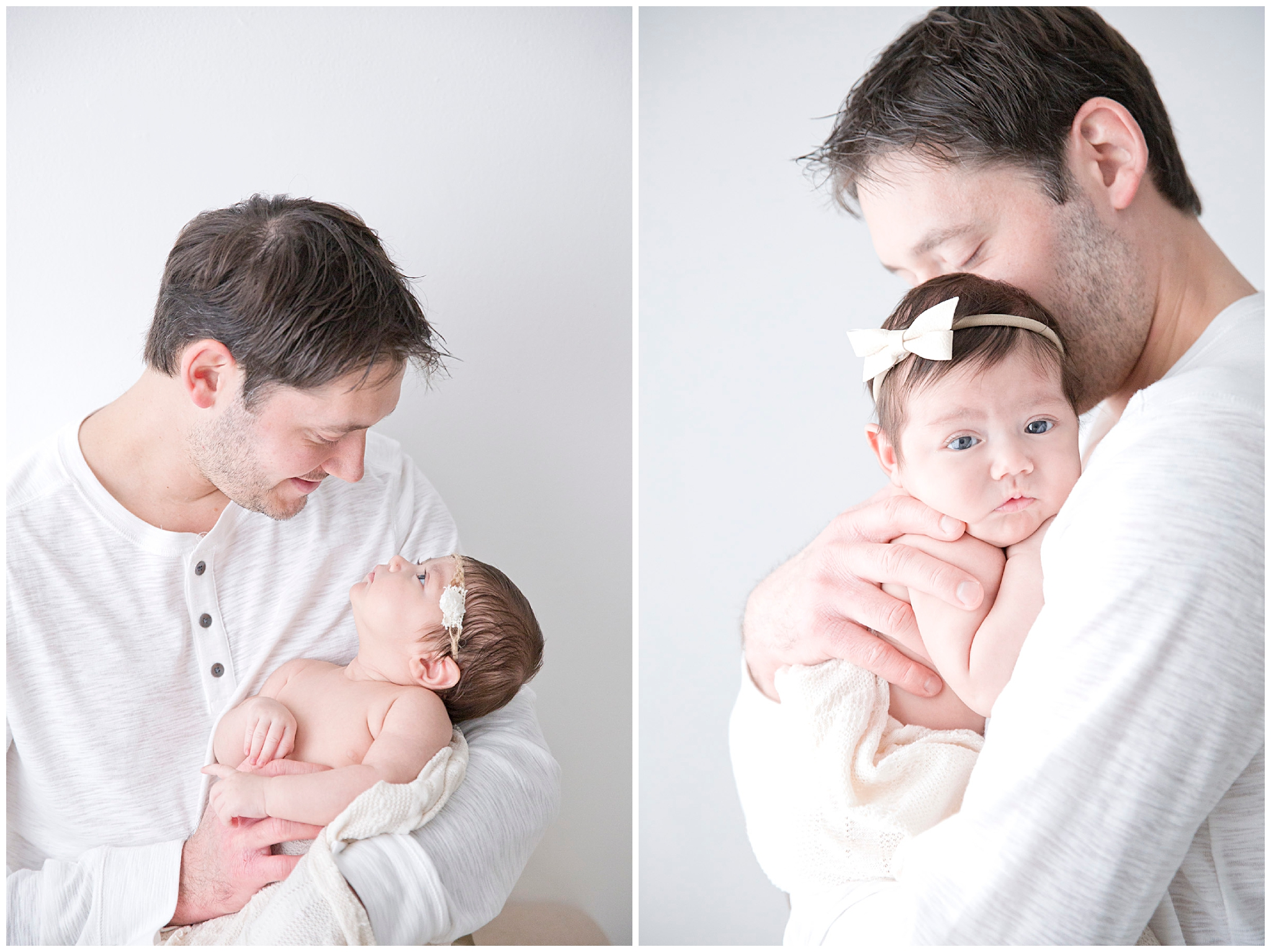 Dad holding newborn baby during their newborn session in Miami FL