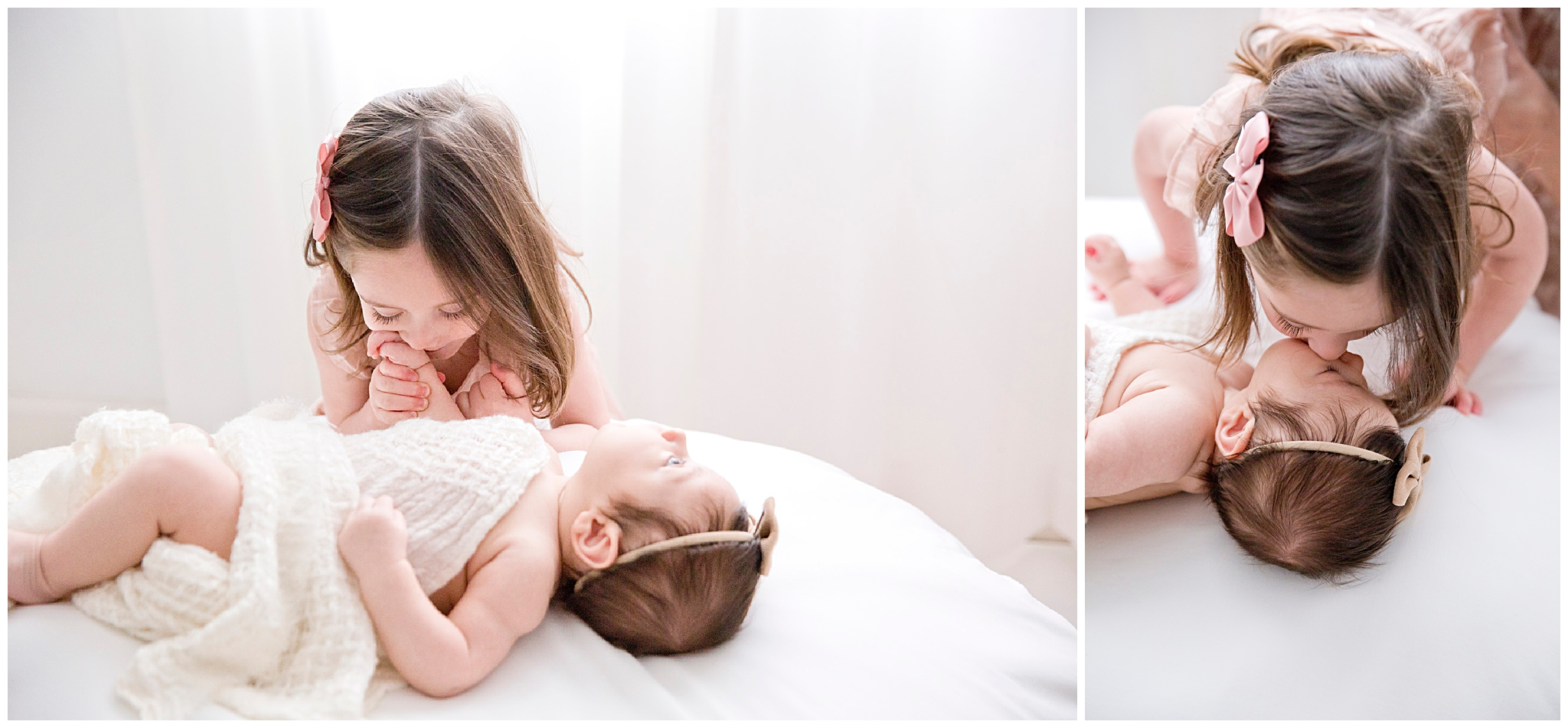 Toddler with Newborn pose during newborn session in Miami FL by Ready Freddie Studios