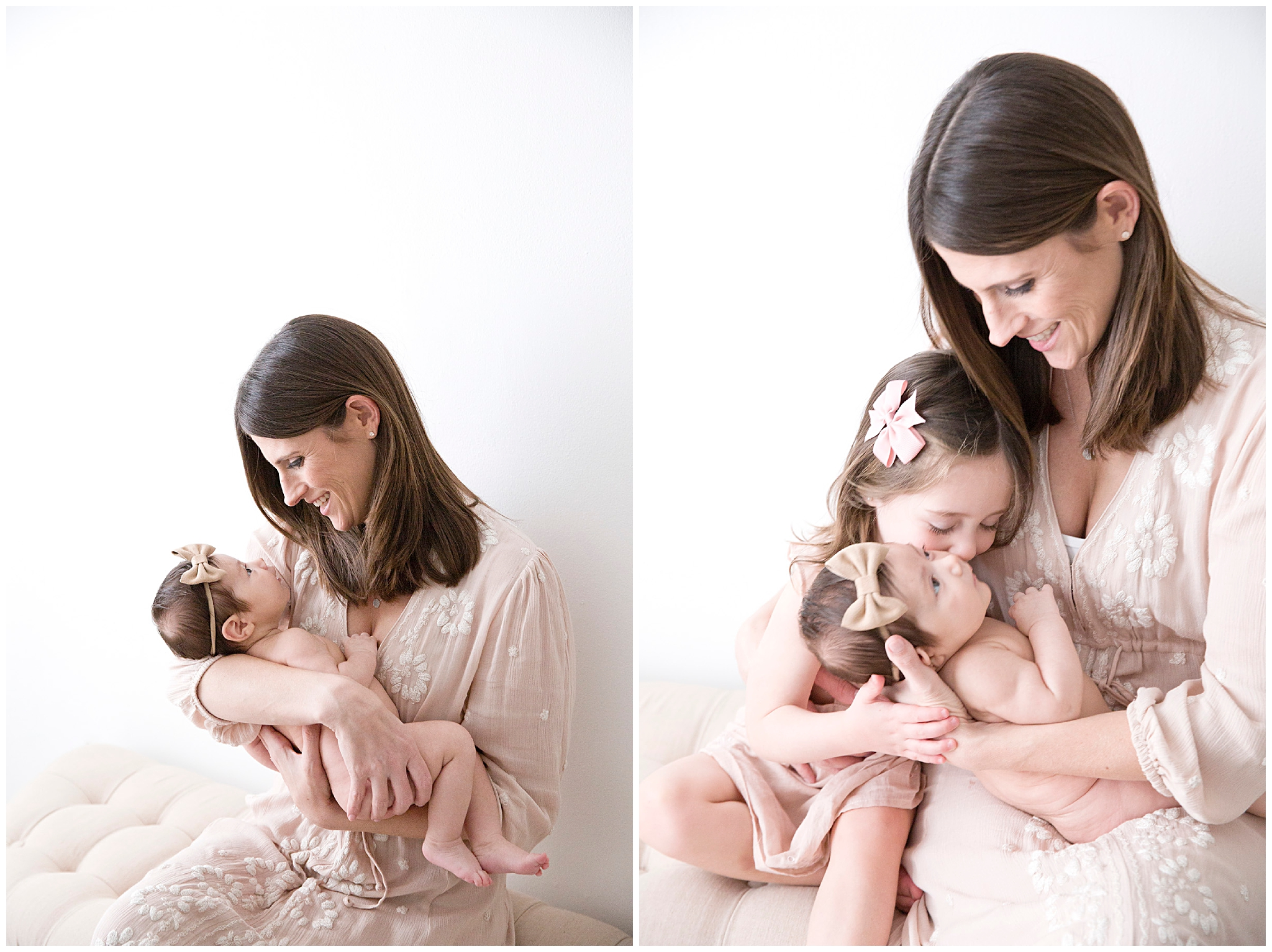 Mommy and me Photo - Mommy holding her two girls by newborn photographer Ready Freddie Studios in Miami FL