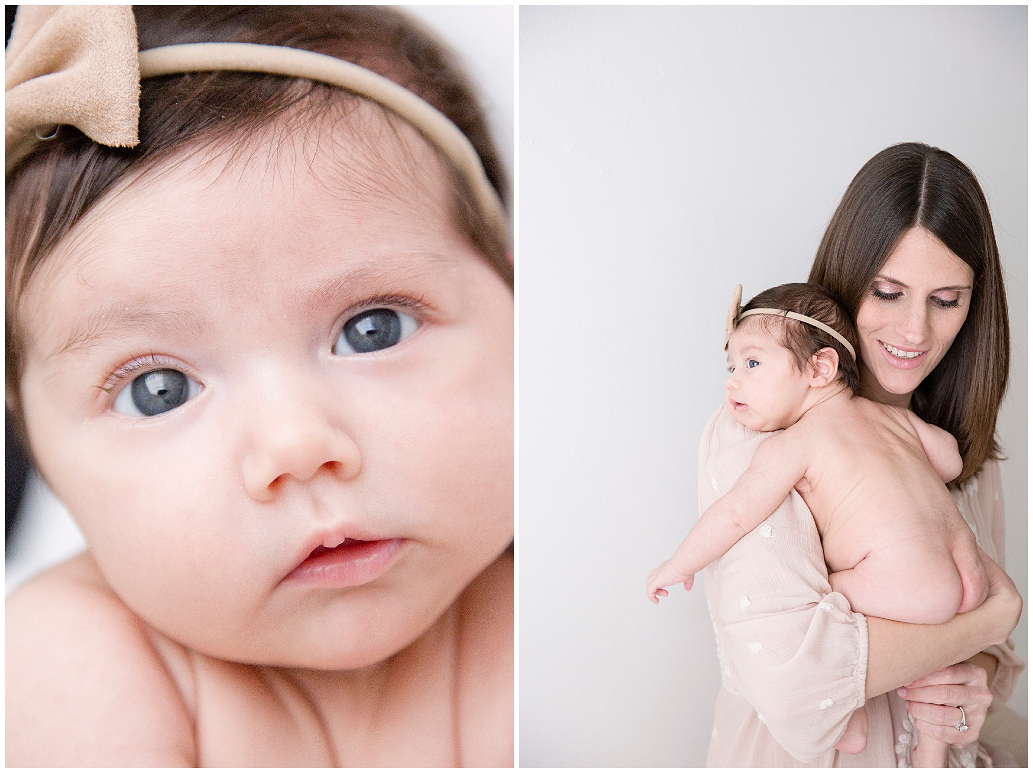 Mom holding newborn baby girl during Miami Newborn Photography Session with Ready Freddie Studios