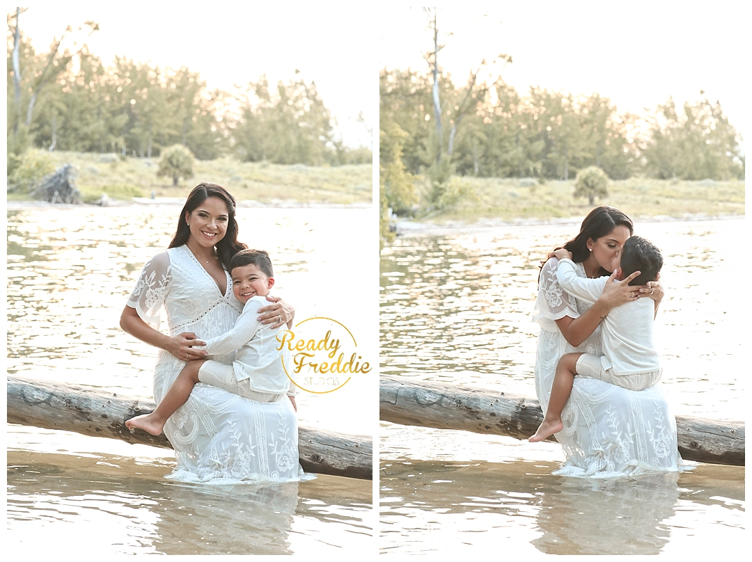 Mother holding son during maternity session in Miami FL