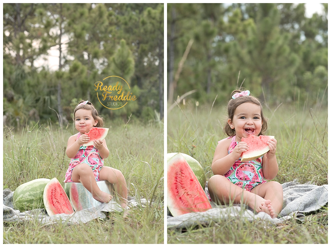 Girl eating watermelon in the field   Miami Kid Photographer