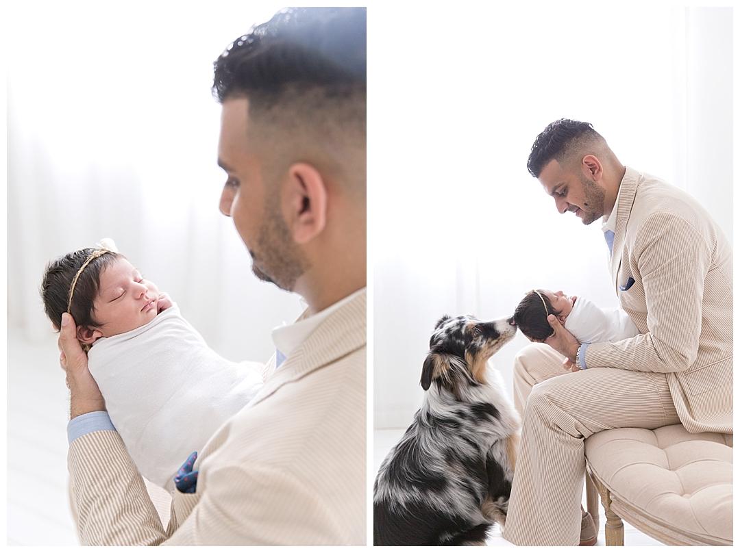 dad holding newborn baby | photography studio in miami, fl