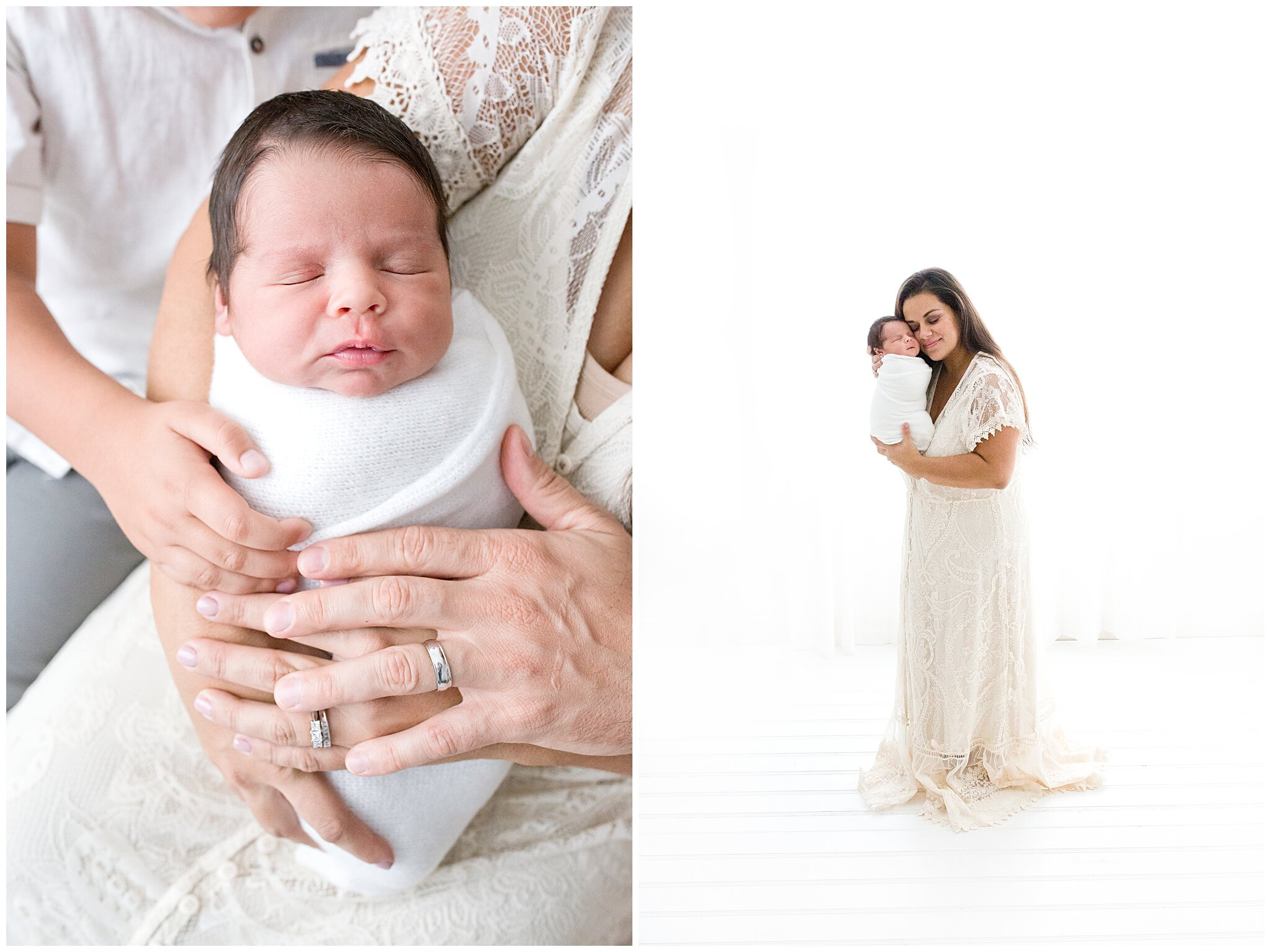 Mom holding newborn baby infront of window inside of a photography studio in Miami, FL