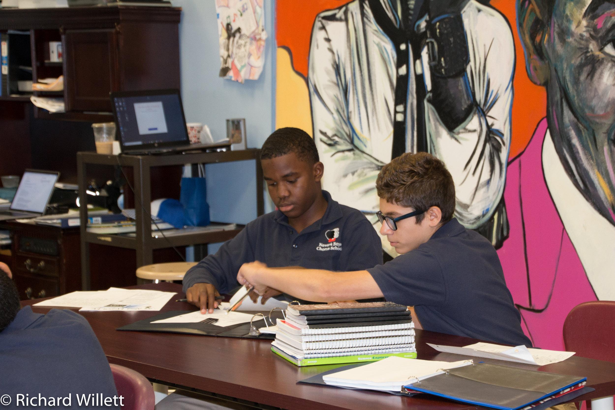 - Social Studies students conferring