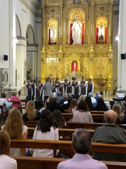 After lunch, and some afternoon sleep, we headed to the city's catholic cathedral for what would turn out to be a well-presented and received concert given by our young men. They sang well, -I guess they also were responding to the very supportive and excellent acoustics of the space. Smiles all over, with a standing ovation at the end!