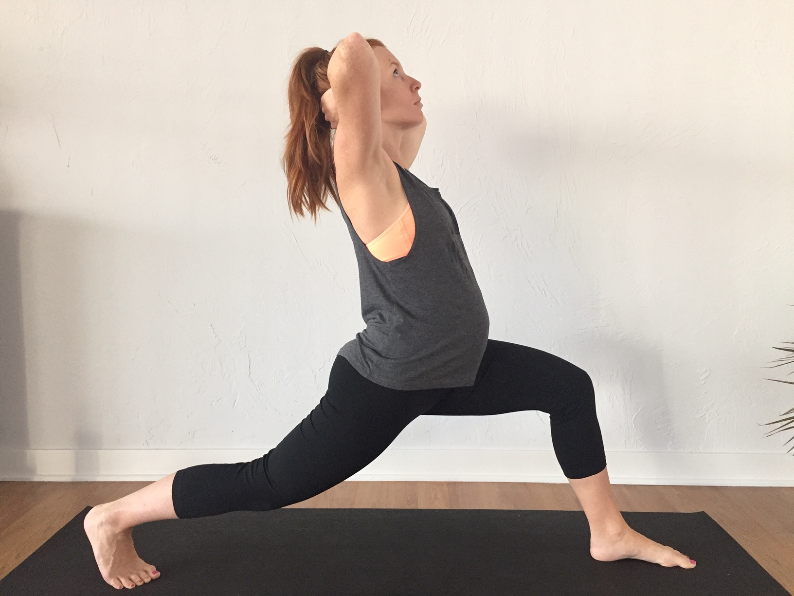 Practice a lunge in good alignment by drawing the rib cage back and keeping the head and ribs in line with the pelvis.