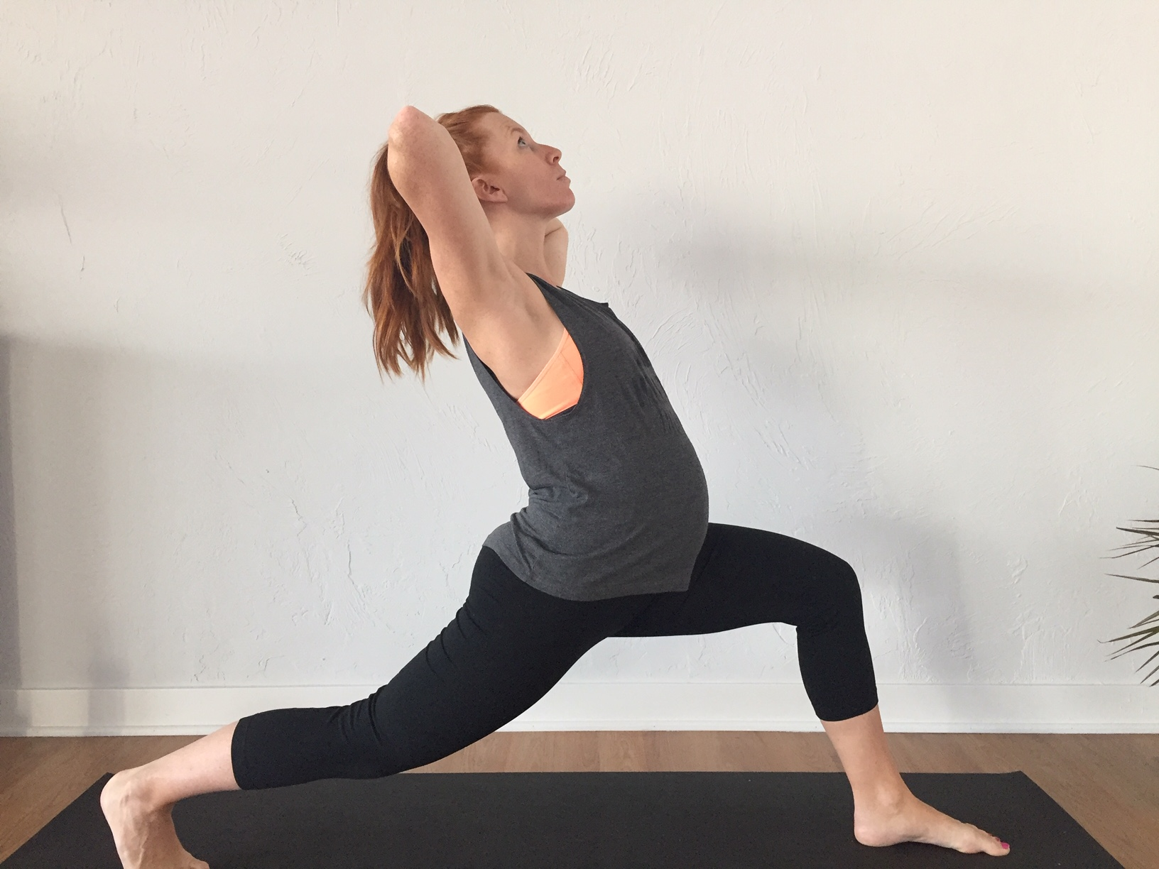 Back-bends can hide in almost every pose- notice how the belly is pushed forward, low back is compressed and the head is dropping back. Watch for poses where you tend to over-stretch and adjust your core so that it's better alignment. Your core will thank you later:)