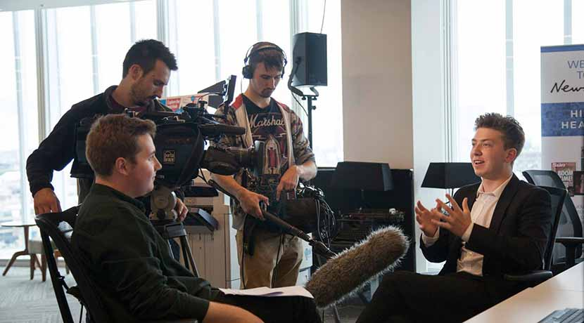 Being interviewed by S4C during my time on the News UK Summer School in 2015.