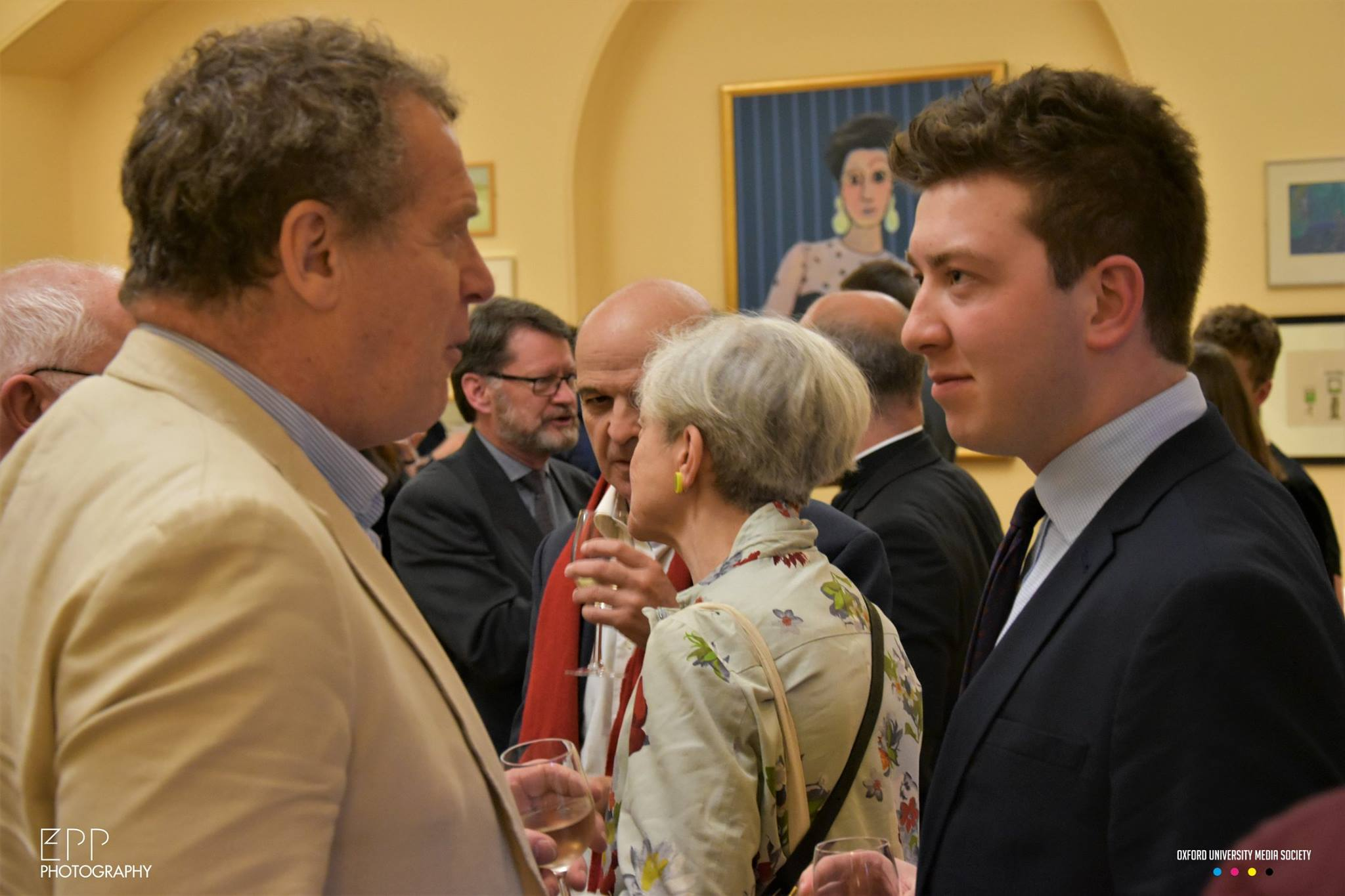 Speaking to colleagues and friends at an Oxford event.