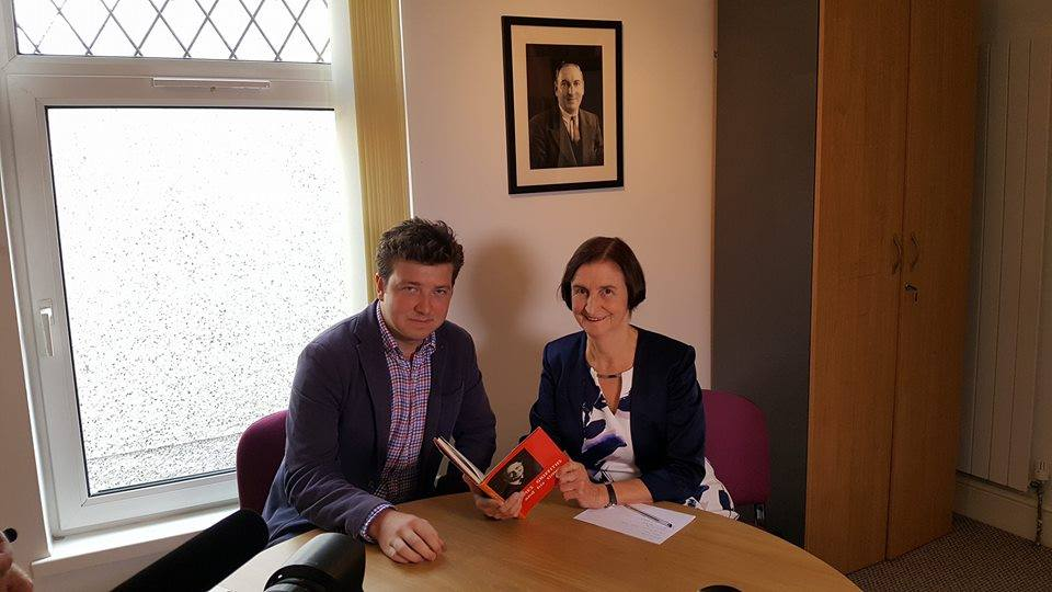 With current Llanelli MP, Nia Griffith, discussing the Cofio Jim campaign.