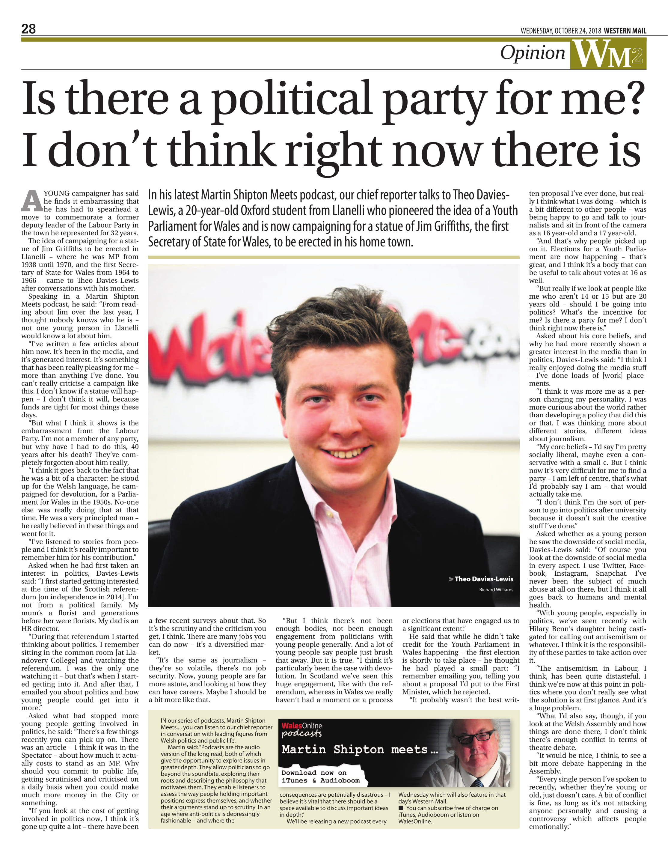 My full page spread in Wales' national newspaper following the interview.