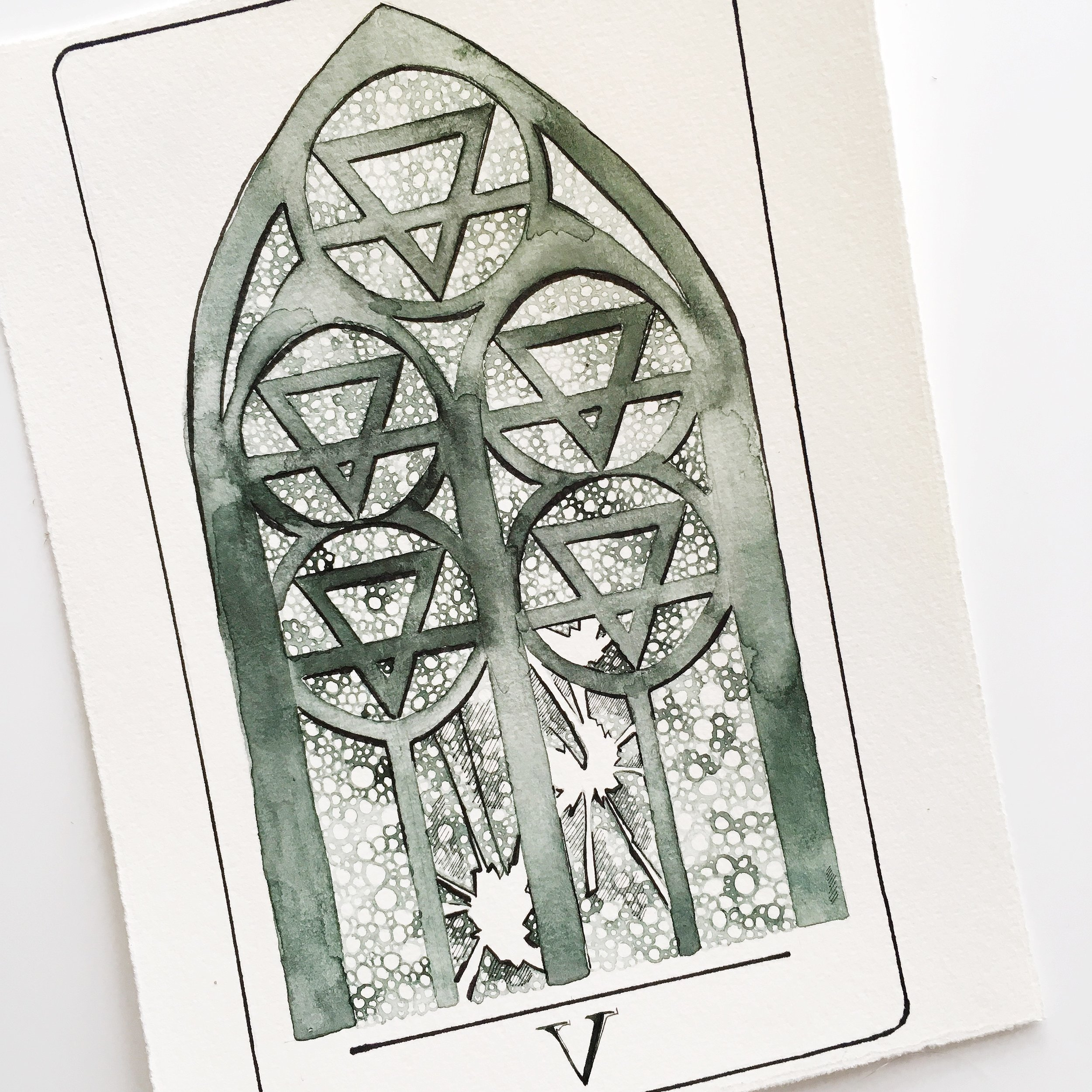five of pentacles, vindur deck by leah pantea
