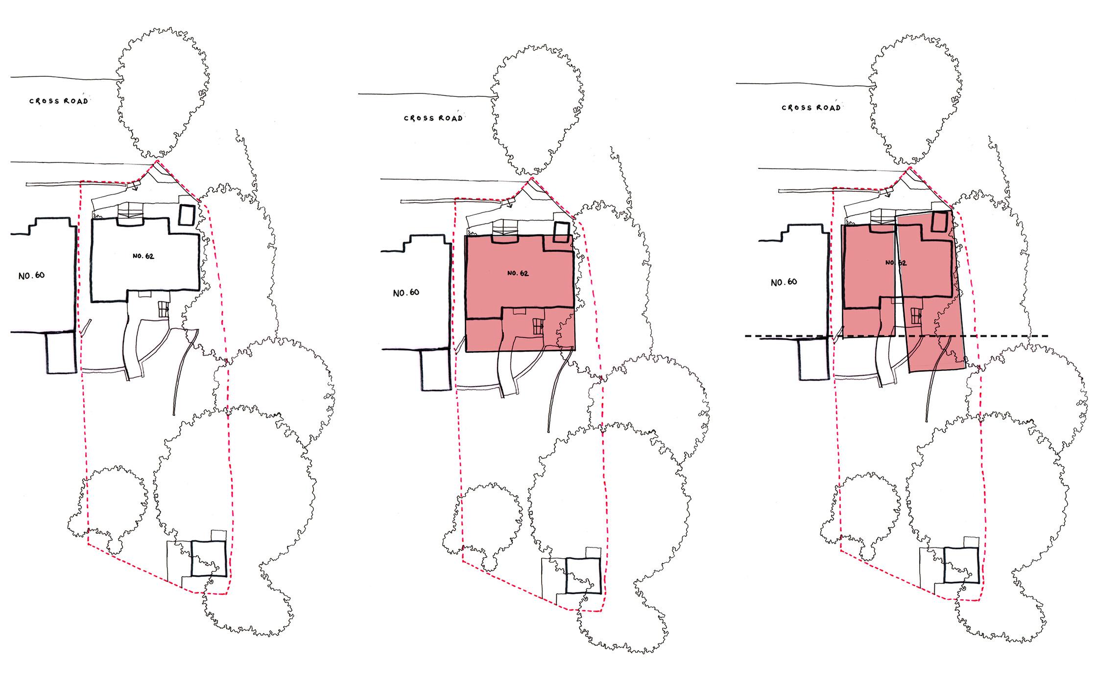 left: existing dwelling - footprint                           middle: square footprint                               right: split volume footprint