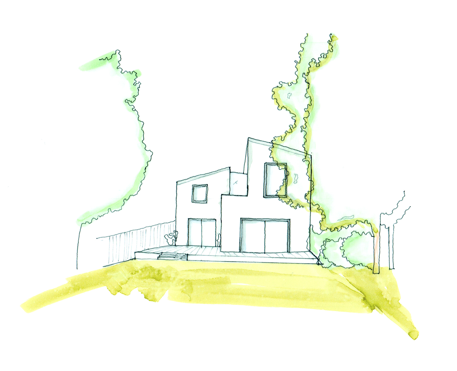 initial concept sketch of rear elevation