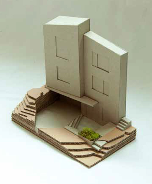 physical model of front courtyard