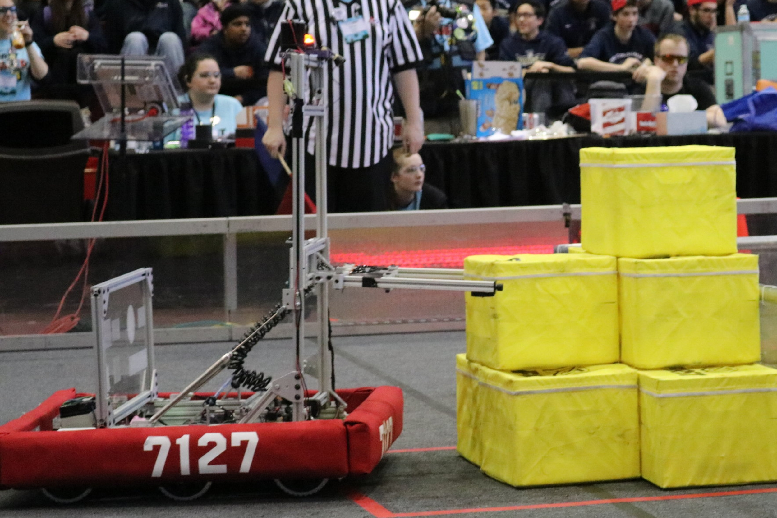 Meet Sir LanceBot - Weight:119.75 lbs. / Max. Cube lift height: 28 in.   Drive Train:Tank Drive (Belt driven) / Vertical Arm:Screw-driven lift with pneumatic grippers and motorized intake wheels