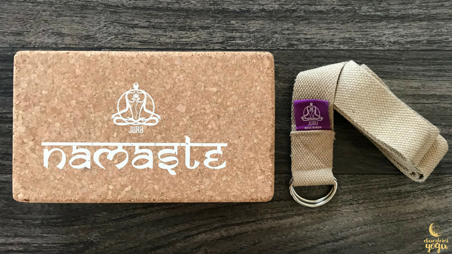 JURU Cork Yoga Block  and  Cotton Yoga Strap  from  JURU Yoga .