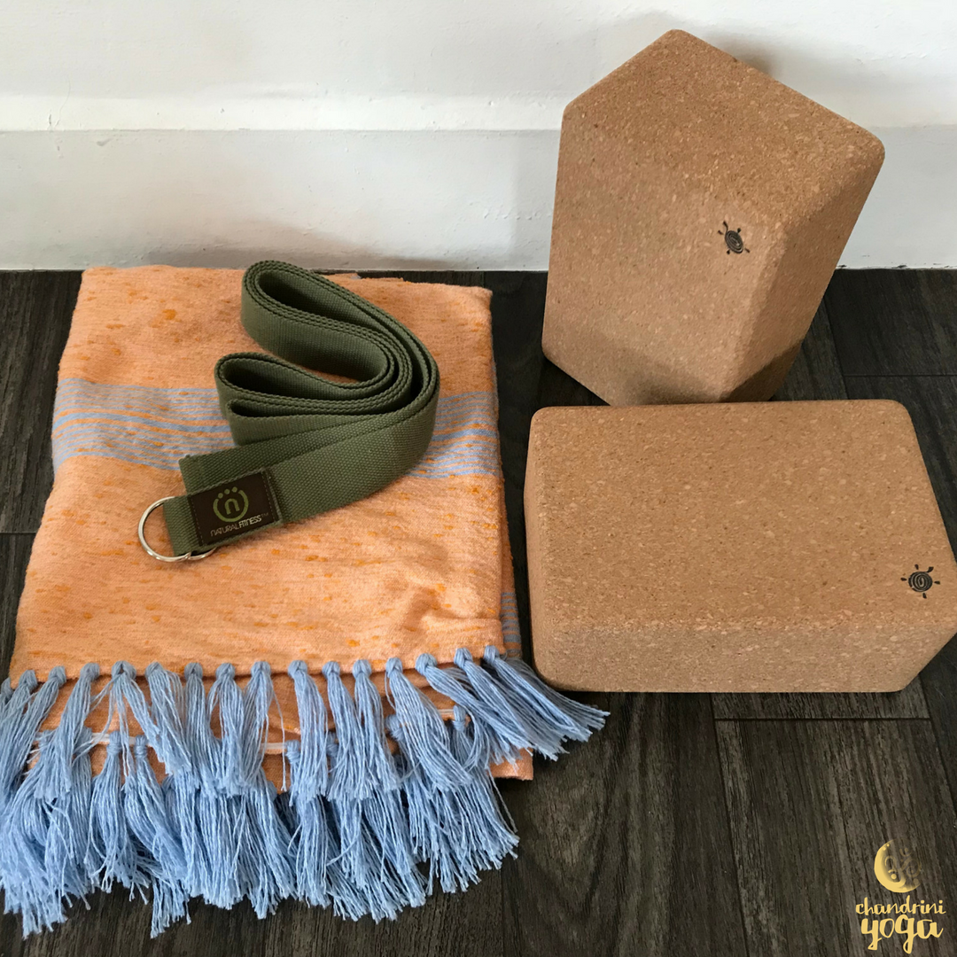 Set of two large  Cork Yoga Blocks from Kurma Yoga ,  Natural Fitness Hemp Yoga Strap , and locally sourced handmade blanket from Figuig, Morocco.