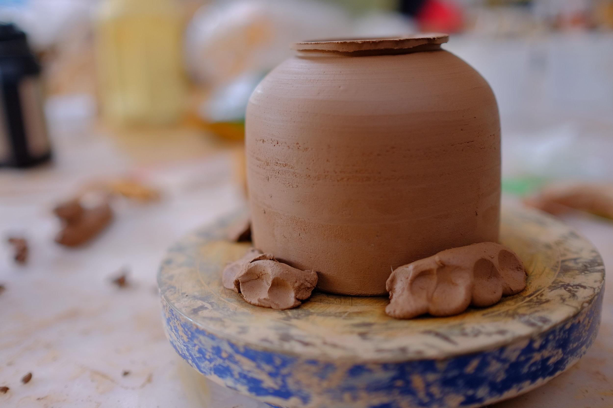 Inside Diana's ceramics studio.