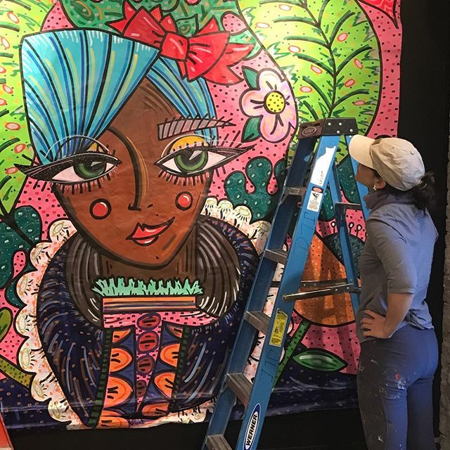 @ChinonMaria's latest American girl Mural was created weekend in Brooklyn, thanks to @underhillwalls. We're proud to say we have the sister mural hanging in our shop. Double Tap if you've already come in to see it!! #underhillwallsbk #underhillwalls #mural #nycwalls #nycmural #streetart #urabnart  #flowerpower #chinonmaria #graffart #makeartnotwar #girlswhopaint #nycart #nycstreetart #artloverscafe