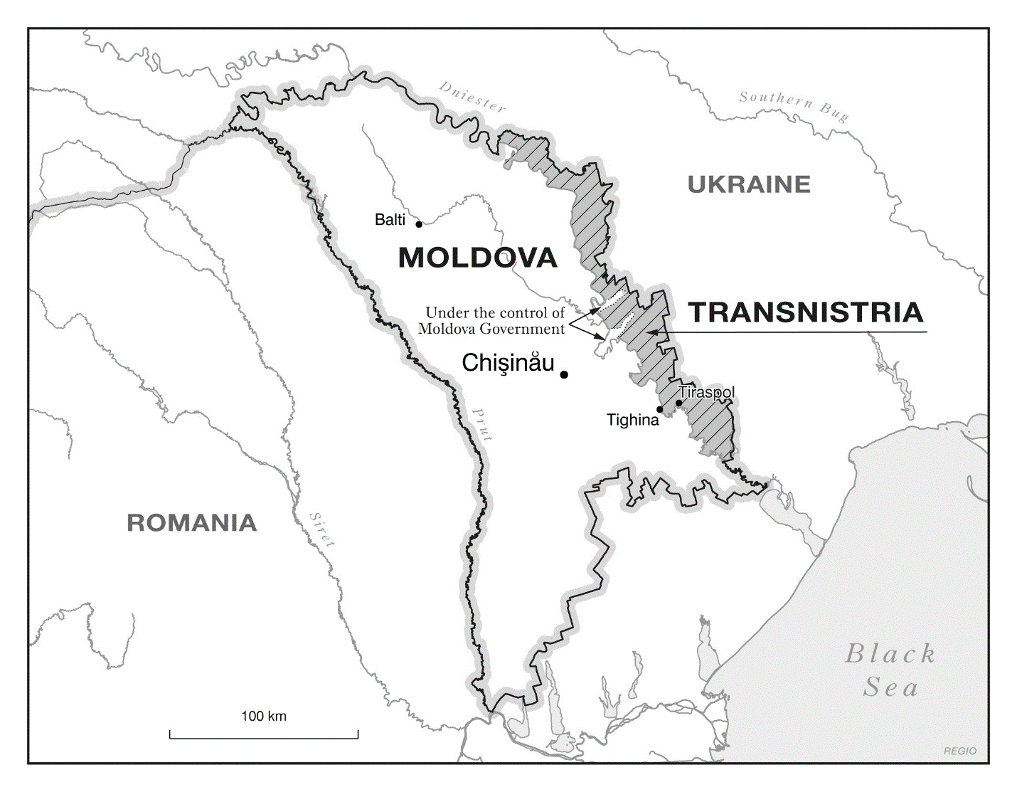 Map  of Transnistria and Moldova today