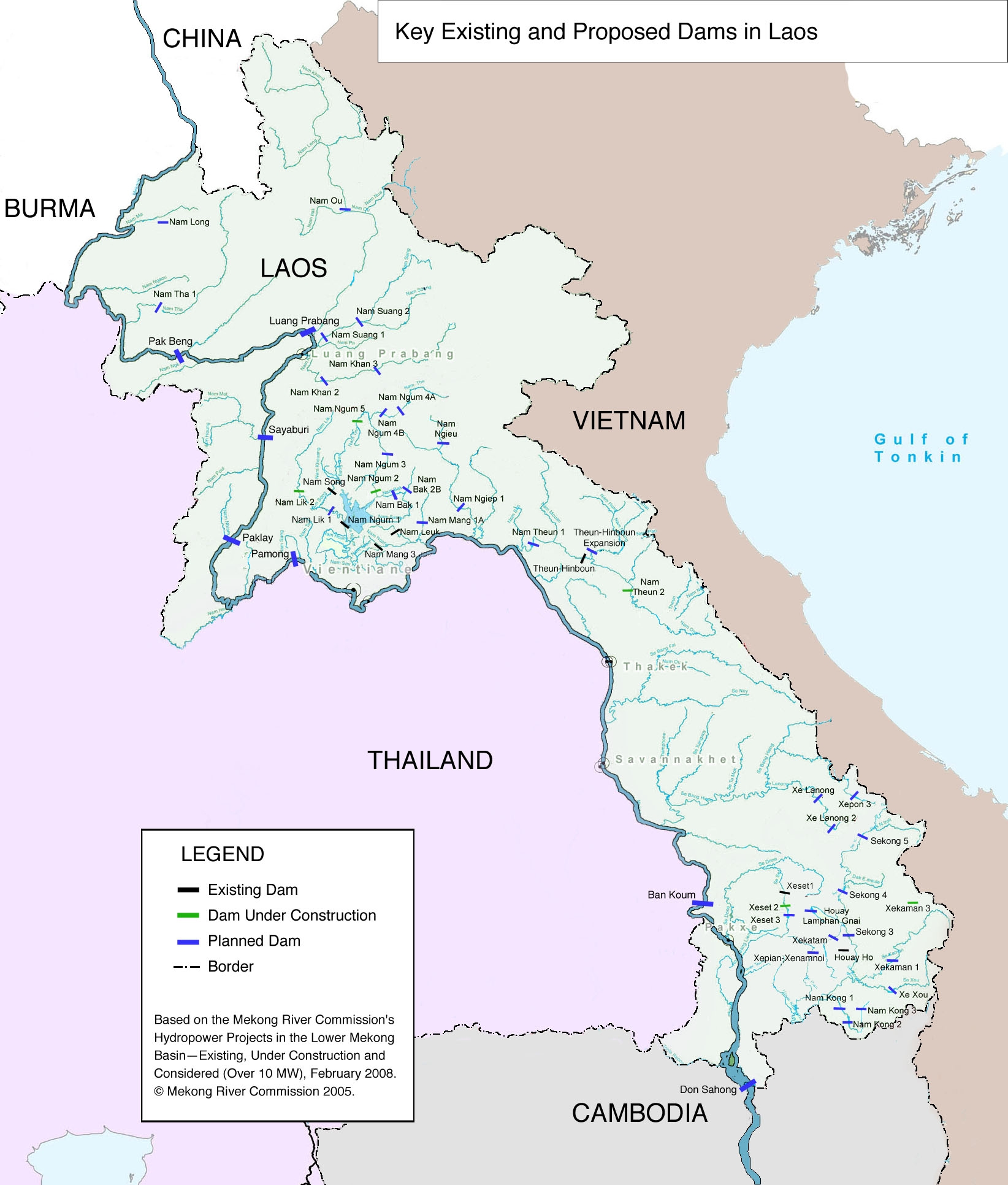 Proposed dams on the Mekong River