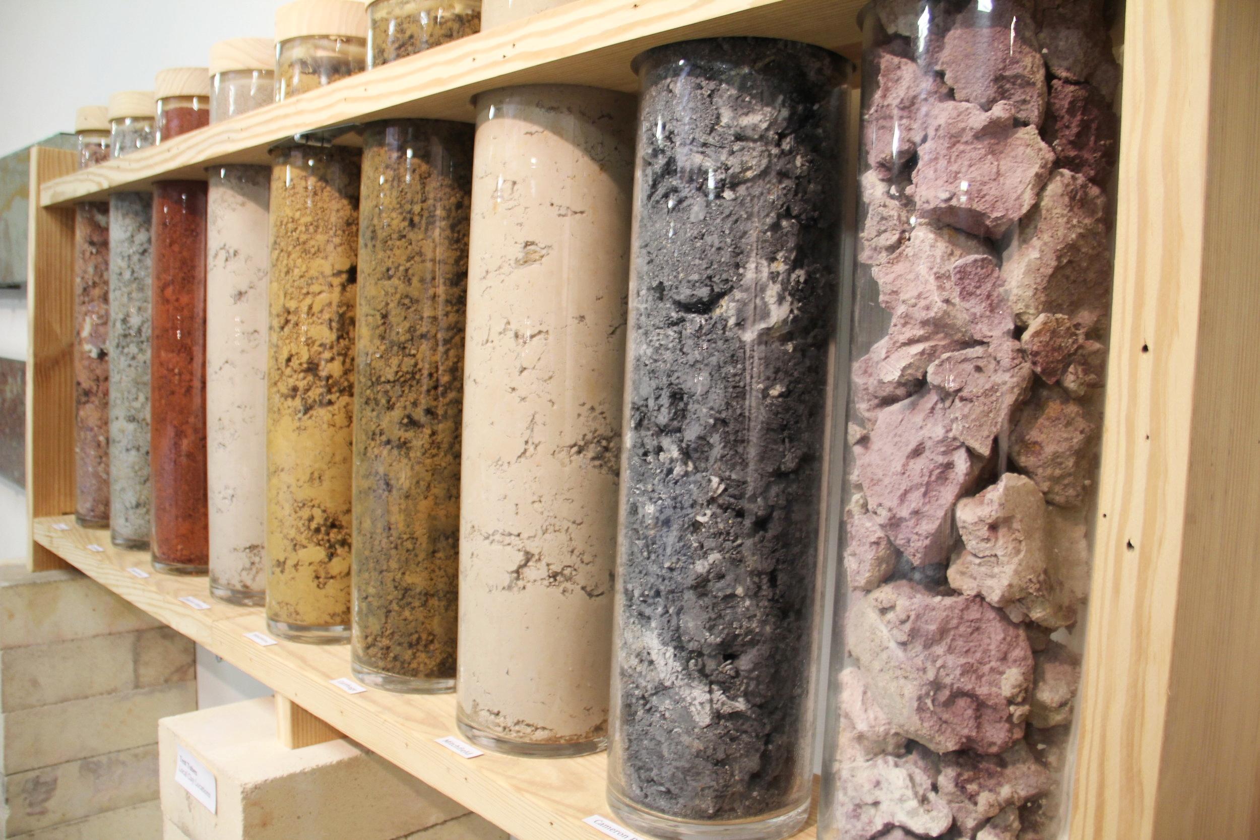 Various clays on display.
