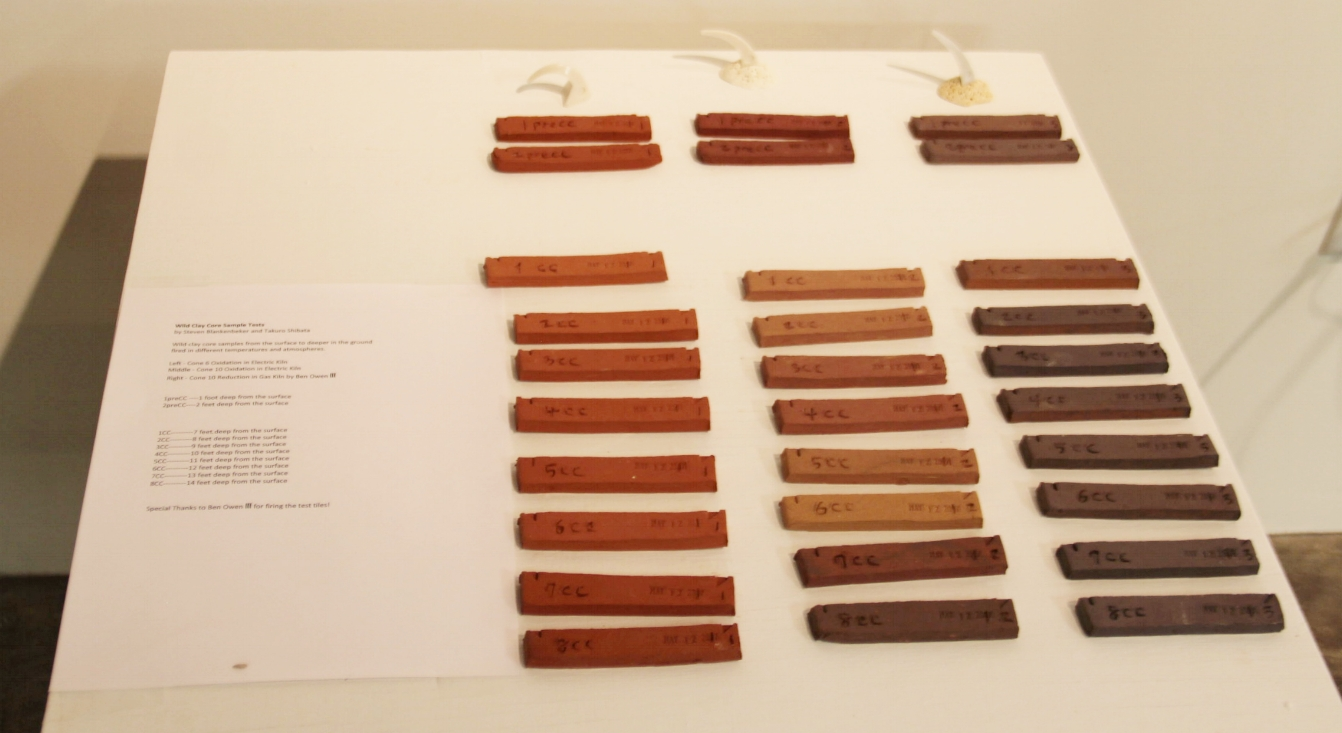 Tiles to determine clay shrinkage.