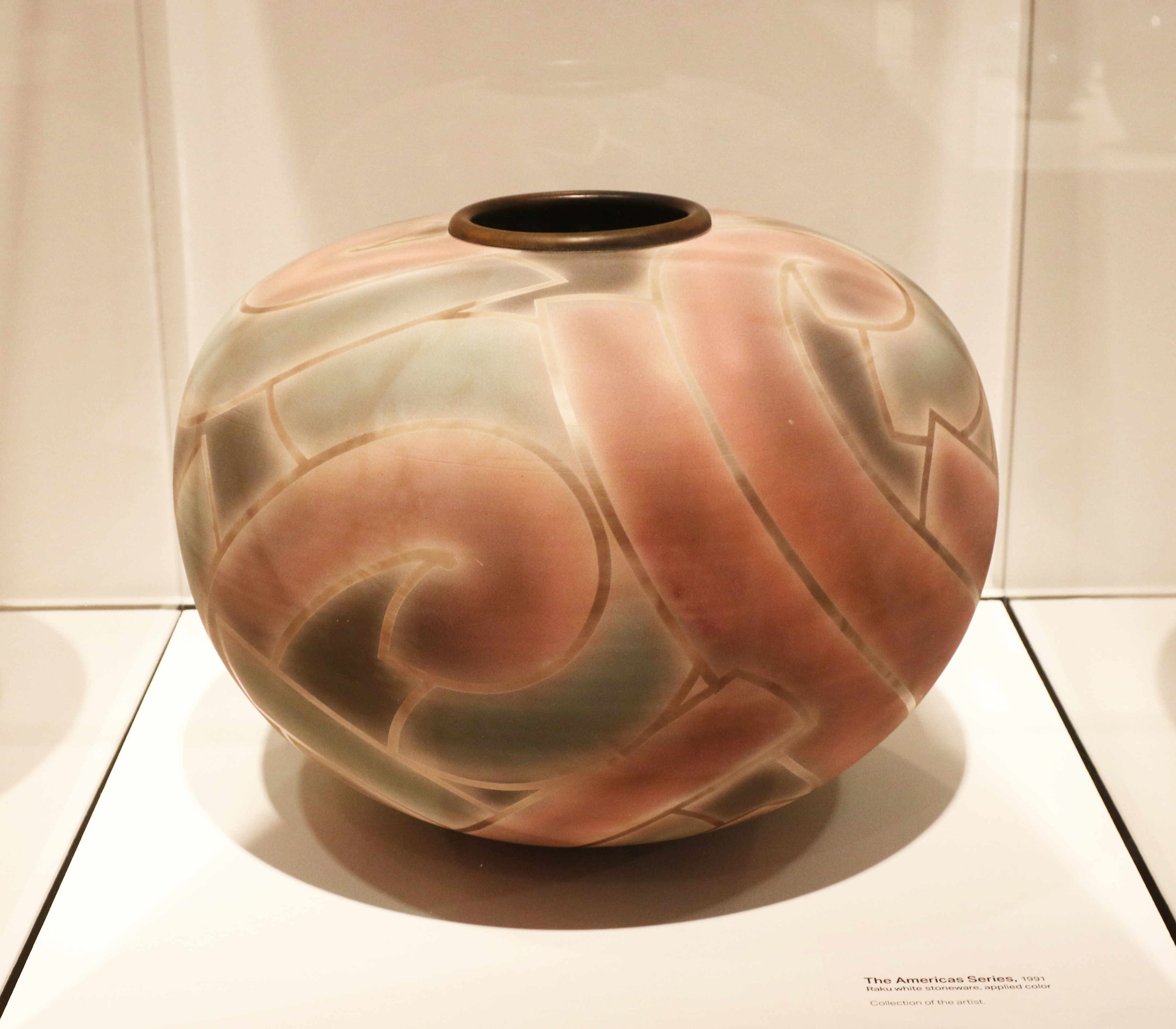 Michael Sherrill, The American Series, 1991. Raku white stoneware, applied color.