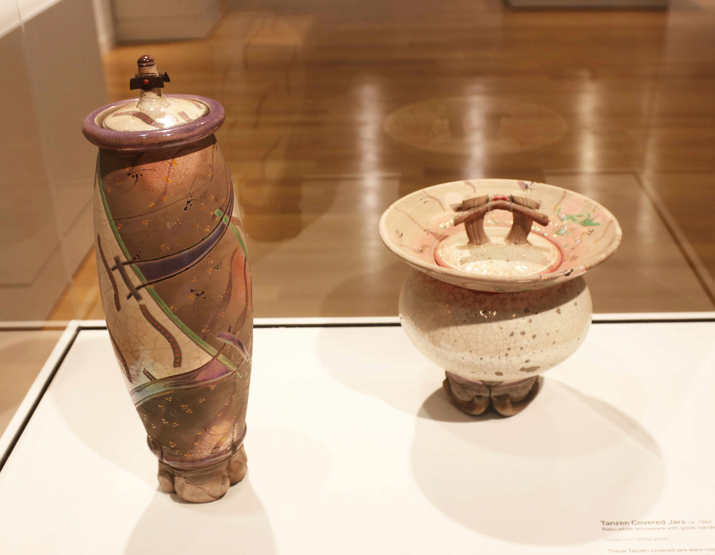 Michael Sherrill, Tanzen Covered Jars, 1984. Raku white stoneware with glaze, handle includes wood.