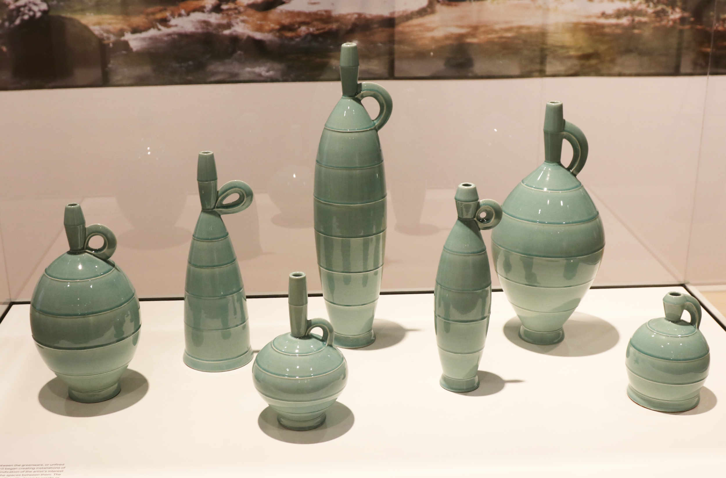 Michael Sherrill, Aqua Bottles (Front View), 1995. White Stoneware, celadon glaze.