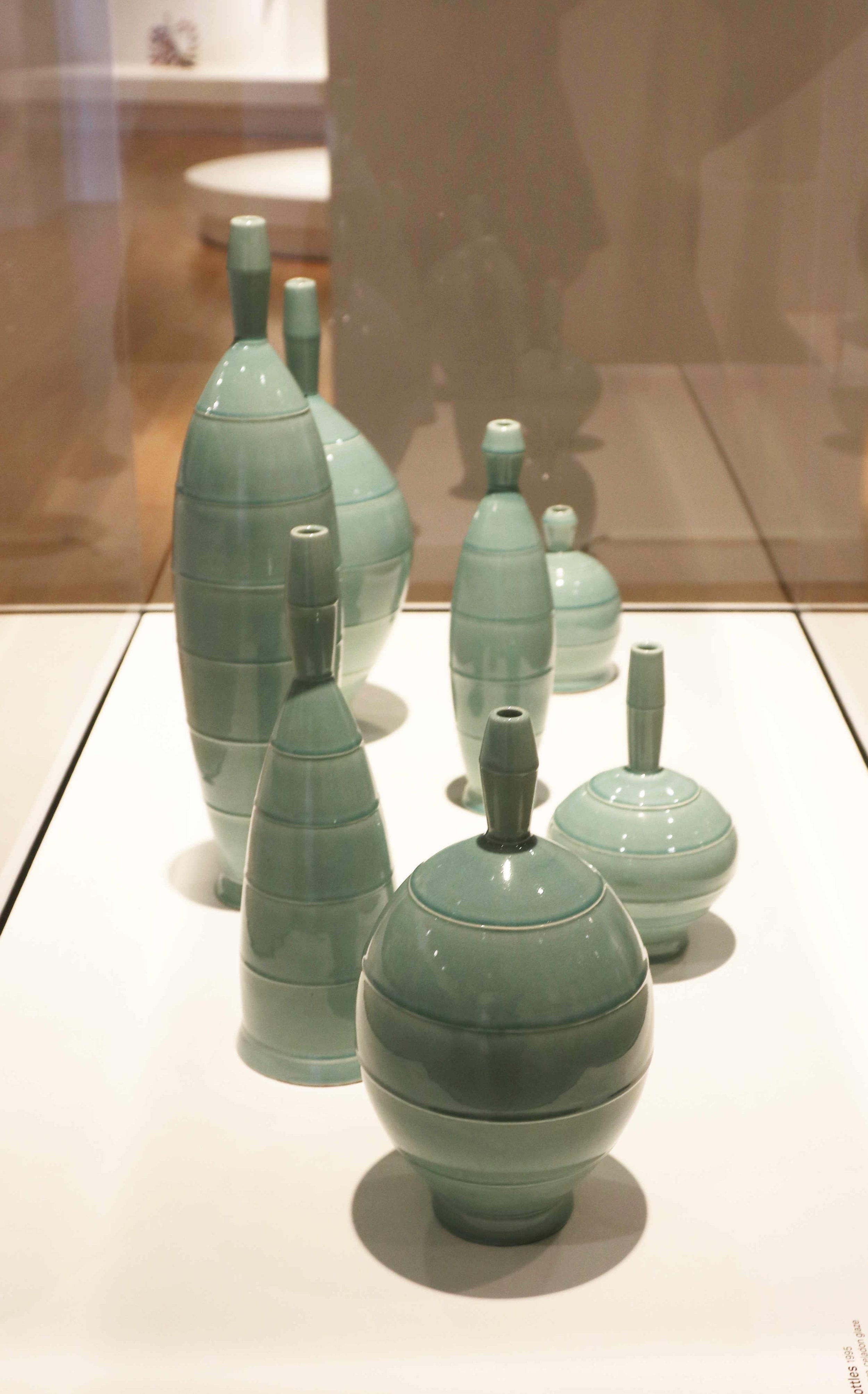 Michael Sherrill, Aqua Bottles, 1995. White Stoneware, celadon glaze.