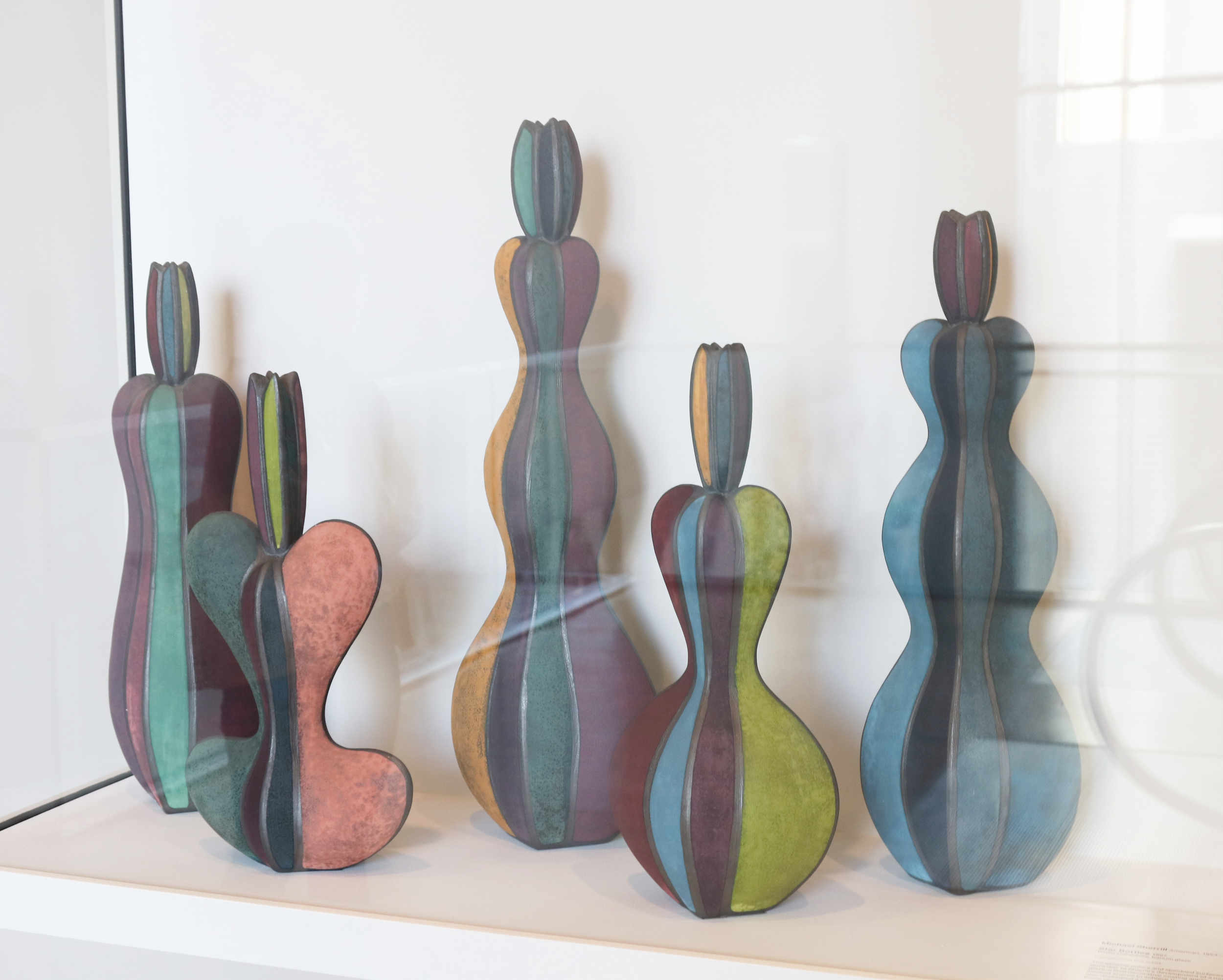 Michael Sherrill, Star Bottles, 1998. White stoneware, barium glaze.