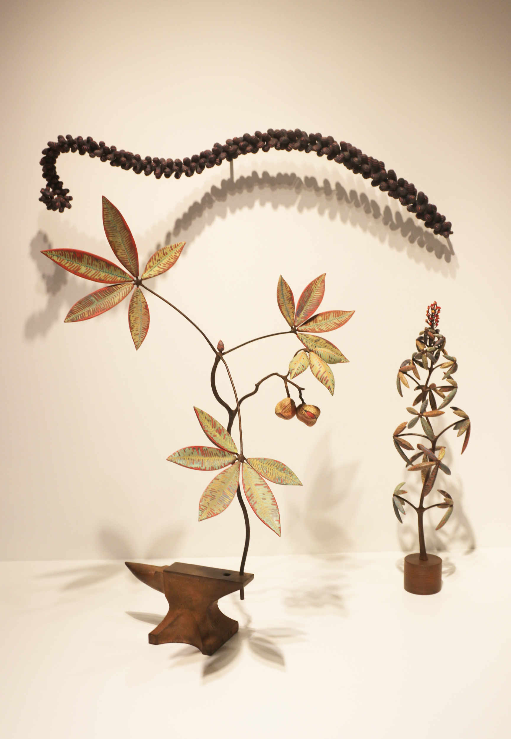 Michael Sherrill, Bumbleberry, Appalacian Moment and New Growth Maquette 1999. Porcelain, abraded glaze, alloy steel.