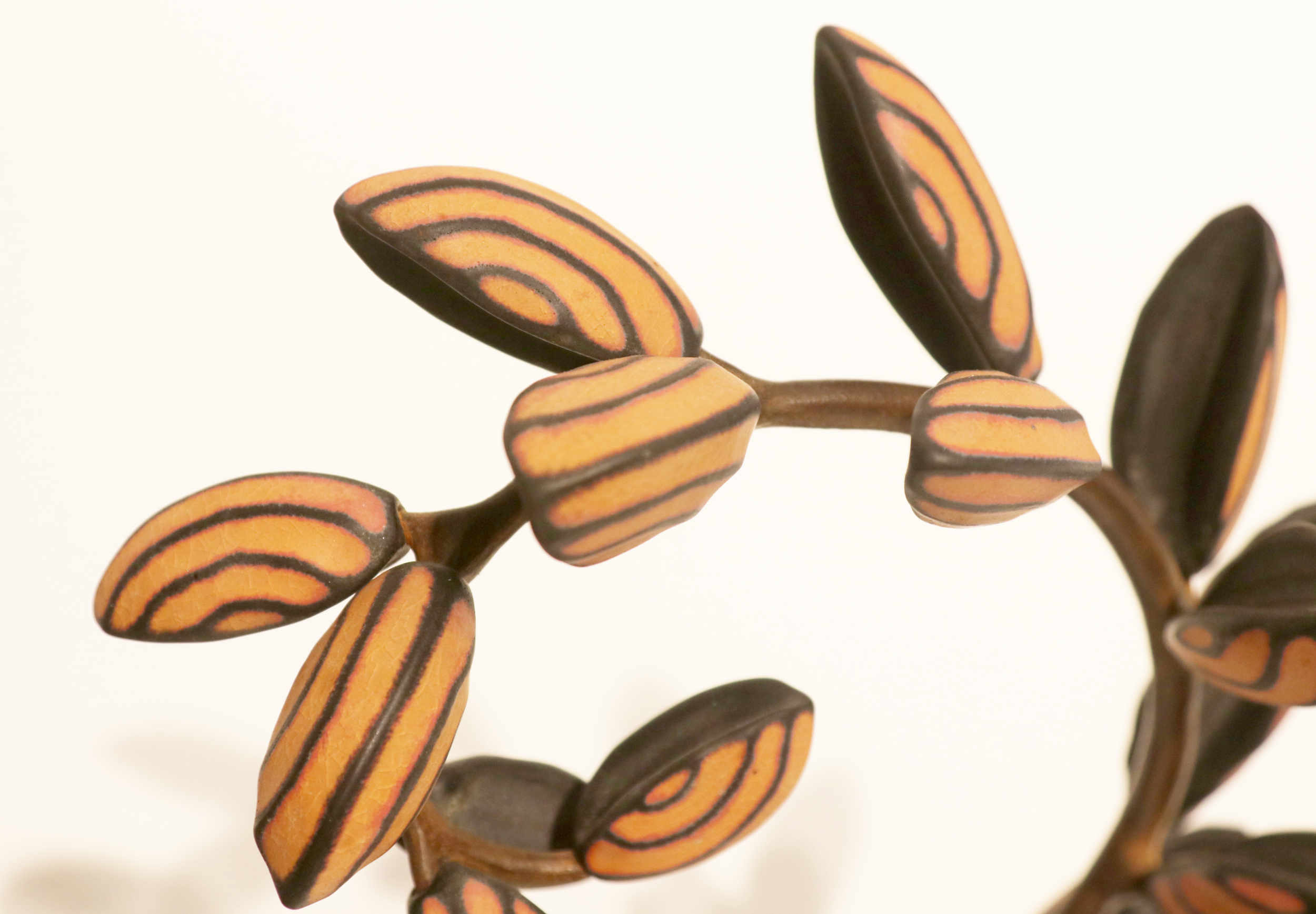 Michael Sherrill, Honey Locust (detail), 2001. Porcelain, forged steel.