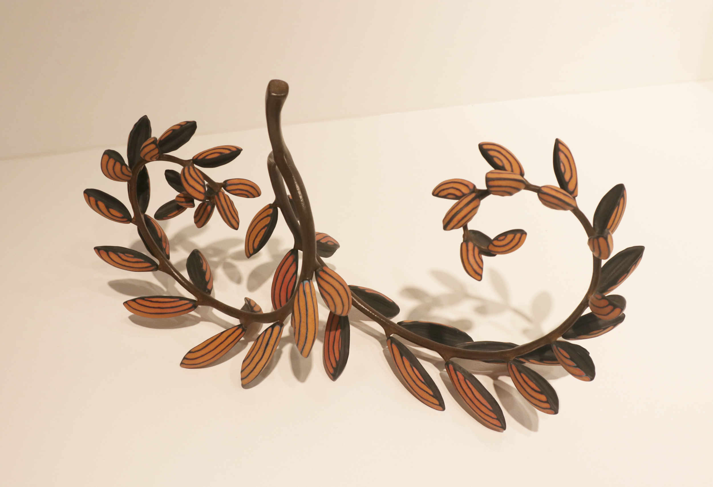 Michael Sherrill, Honey Locust, 2001. Porcelain, forged steel.