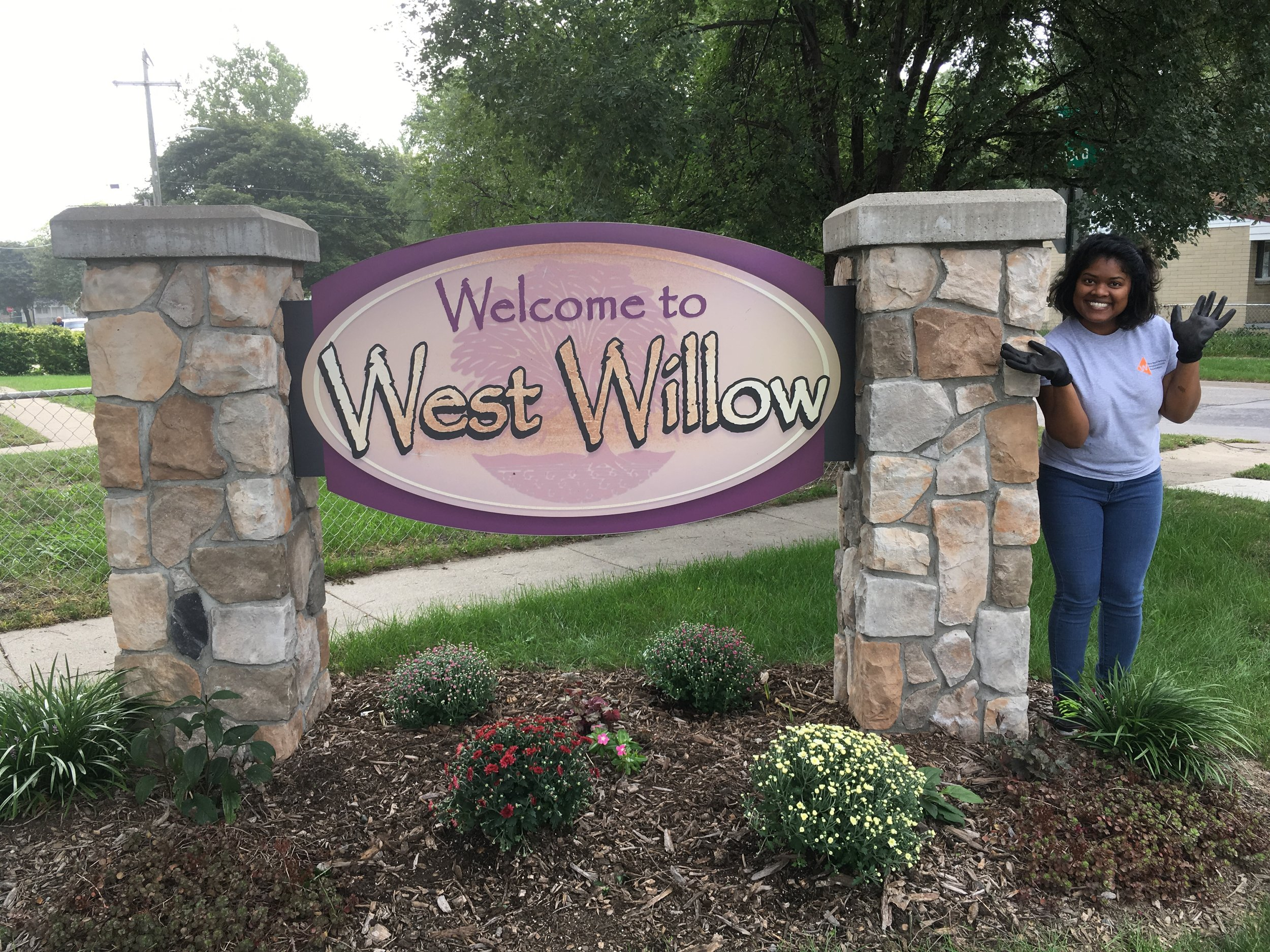 Welcome sign with Karina.jpg