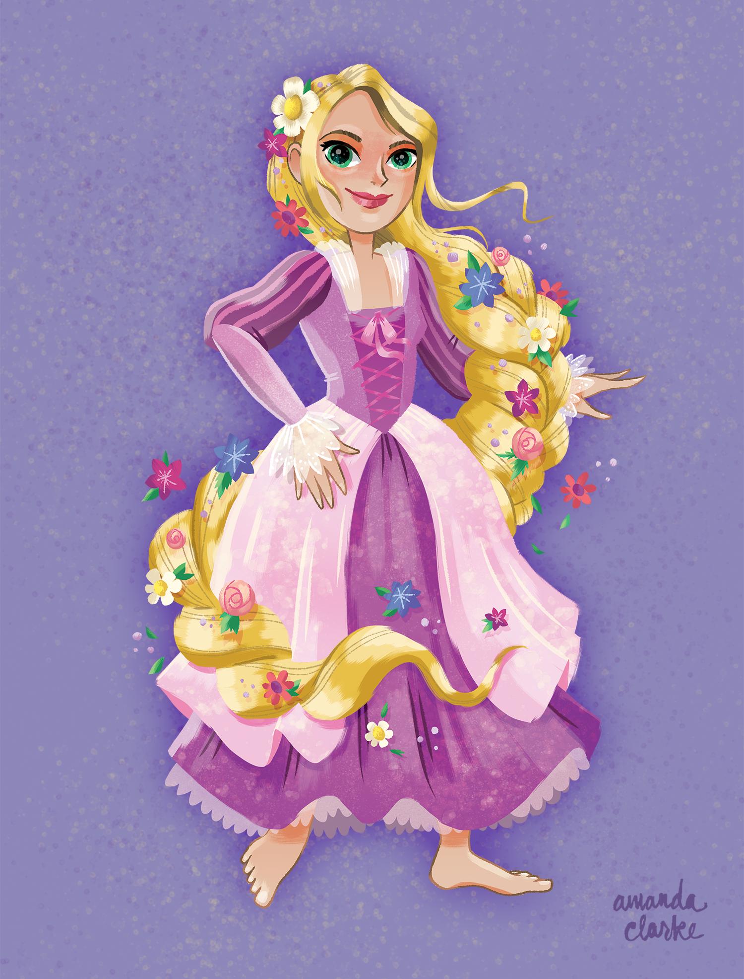 Rapunzel character concept for Hasbro's Disney Dreamers line.